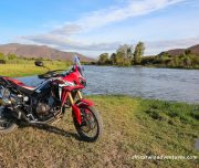 Africa Twin Adventures Red AT at river