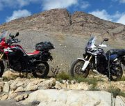 Africa Twin Adventures 2 bikes on rocks to The Hell